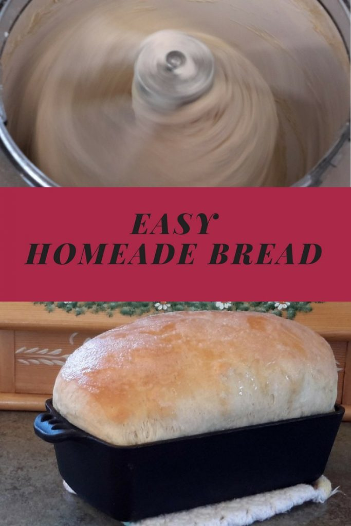 Easy Homemade bread, bread in a mixer and a fresh loaf of bread in a pan