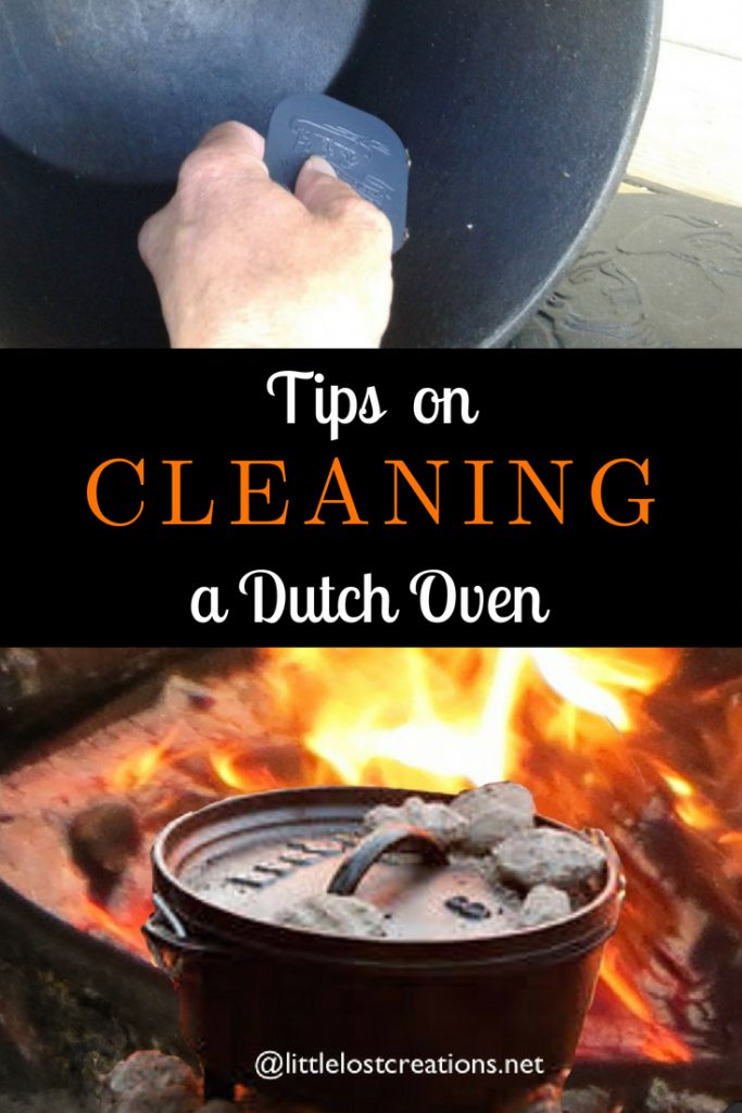 Fire with a Dutch oven with briquets. Tips on Cleaning a Dutch Oven. Hand with a pan scraper cleaning a Dutch oven.