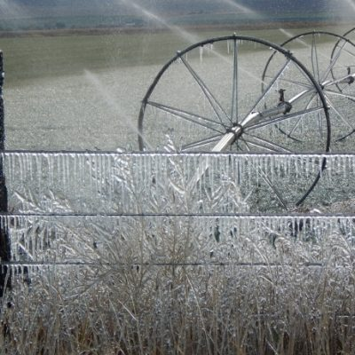 Sprinklers are running and froze the wheel lines and also the barb wire