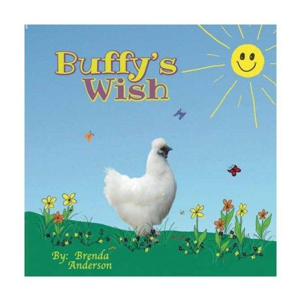 Buffy's Wish, Buffy a silkie white chicken with flowers, bees and butterfly, Little Lost Creations