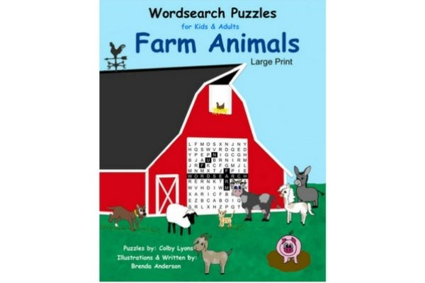 Barn with word search puzzle in door, farm animals, pigs, goats, pony, chicken, sheep, goats, cows, Brendas Kids Books