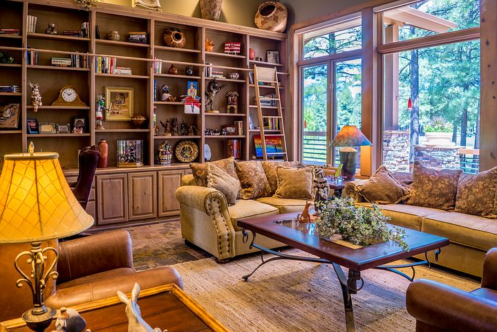 comfortable living room with book shelves couch and table